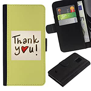 Ihec-Tech / Flip PU Cuero Cover Case para Samsung Galaxy S5 Mini, SM-G800, NOT S5 REGULAR! - Thank You Heart