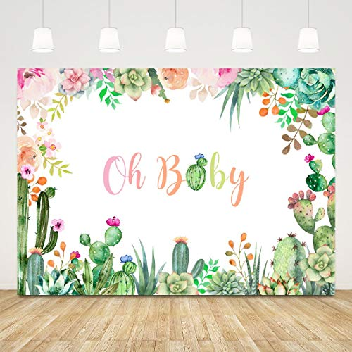 Cactus Backdrop Baby Shower Oh Baby Background for Photography 7x5ft Baby Shower Backdrops for Girls Boys Newborn Photo Background Gender Reveal Banner Birthday Party Decorations Photobooth Props -