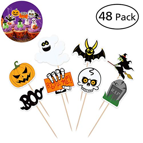 BESTONZON 48 PCS Halloween Cupcake Toppers, Double Sided Cake Toppers with Different Styles for Halloween Party Cupcake Food Decorations ()