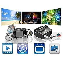 ViviBright GP5S Mini Projector 100 Lumens QVGA (320x240) 1080P HD LED LCD 4:3 and 16:9 300:1 3-in-1 AV In, S-Video, HDMI Input, DC SD Card Slot USB VGA Port