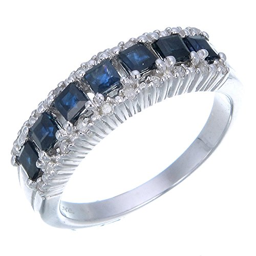 0.58 CT Blue Sapphire & Diamond Wedding Band Sterling Silver Size 5