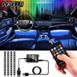 LED Neon Strip Lights for Cars, Dorolla 4pc Multi-Color LED Car Interior Underdash Lighting Kit with RF Wireless Remote - Universal Fitment – SYNC with Music– USB Powered (5V1A)