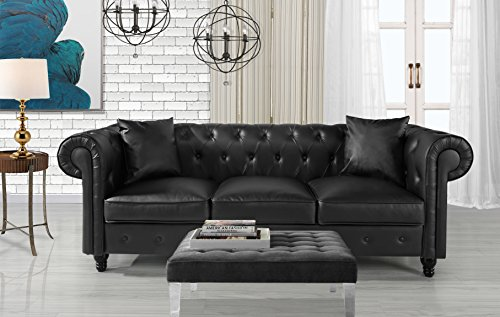 Divano Roma Furniture Classic Living Room Bonded Leather Scroll Arm Chesterfield Sofa (Black) ()
