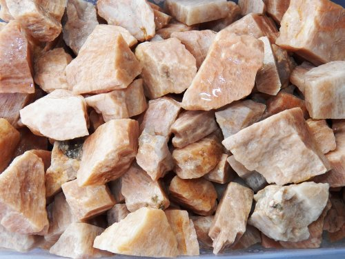 Fundamental Rockhound Products: 1/2 lb Rough Peach Moonstone Bulk Rock for Tumbling Metaphysical Gemstones Healing Crystals Wholesale Lot from India Stone of Love; Opens Heart Chakra