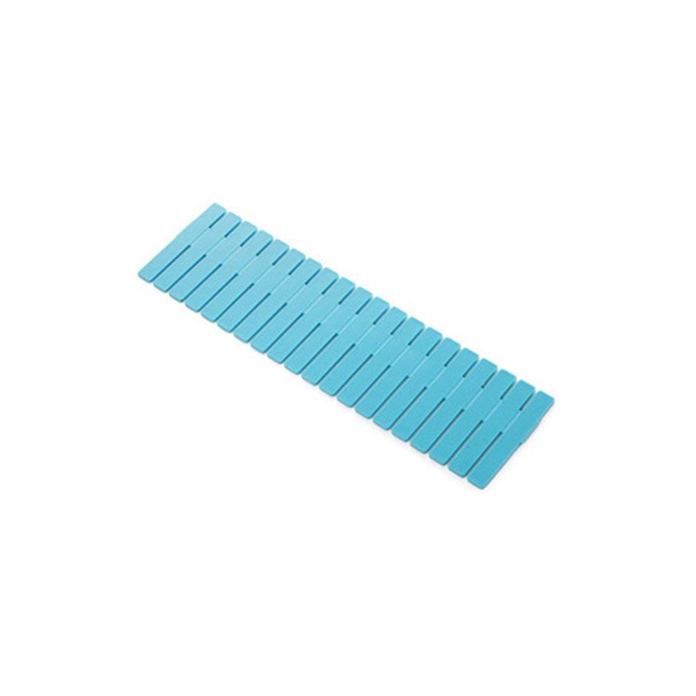 XMDZ Adjustable DIY Drawer Organiser Dividers Multipurpose Organisation Tidy for Ties Socks Make up Gadgets Stationary Cutlery, Long Set of 4PCs Green