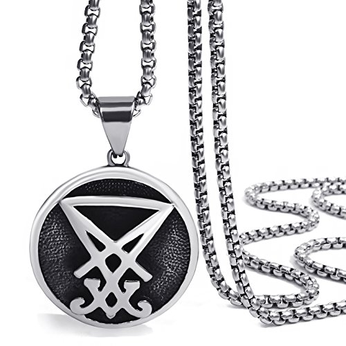 Elfasio Men Pendant Necklace Stainless Steel Sigil of Lucifer Seal of Satan Baphomet Chain Jewelry 22 inch