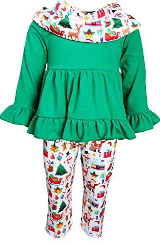 Toddler Little Girls Merry Christmas Joyful Holidays Santa Reindeer Tunic Leggings Scarf Set Green 6/2XL