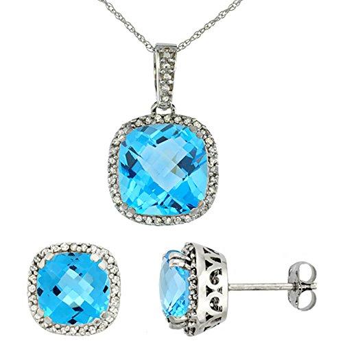 Coussin naturel or blanc 9ct Topaze Bleu Suisse Boucles d'oreilles et pendentif Set Accents de diamant