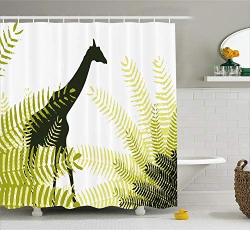 Ambesonne Africa Shower Curtain, Silhouette of Giraffe Ferns National Park Terrestrial Tall Animal Print, Fabric Bathroom Decor Set with Hooks, 70 Inches, Pale Green