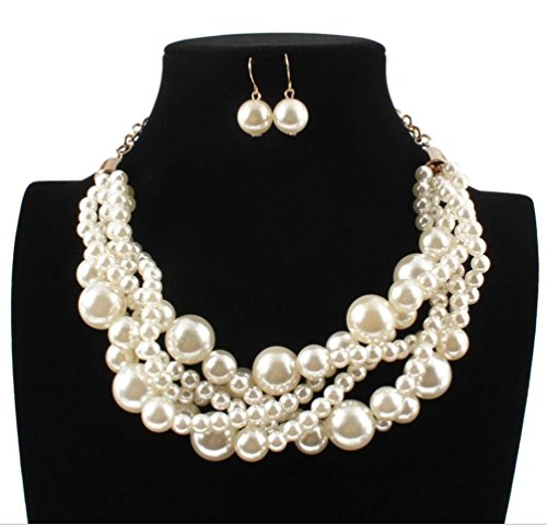 Ufraky Womens Imitation Pearl Cluster Beads Twisted Statement Chunky Bib Choker Necklace and Earring Set