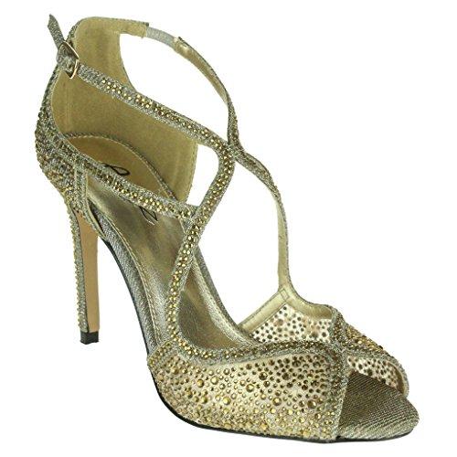 Frau Damen Diamant Abend Hochzeit Party Abschlussball Braut Peep Toe High Heel Sandalen Schuhe Größe Zinn