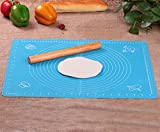 Rolling Pin & Silicon Pastry Mat,Silicone Large Pastry Mat With 19.6'' x 15.7'',Dough Roller Sleek and Sturdy 11.8'' Perfect Match