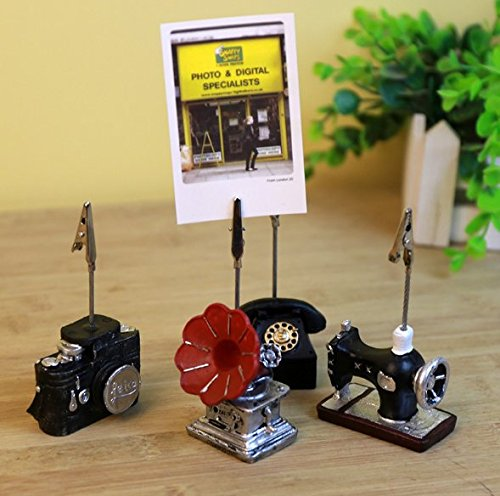 Chris.W 4Pcs Mini Adorable Retro Style Tabletop Memo Clip Holder Display for Cards/Notes/Photos/Pictures/Placecards, Wooden Base with Alligator Clasp