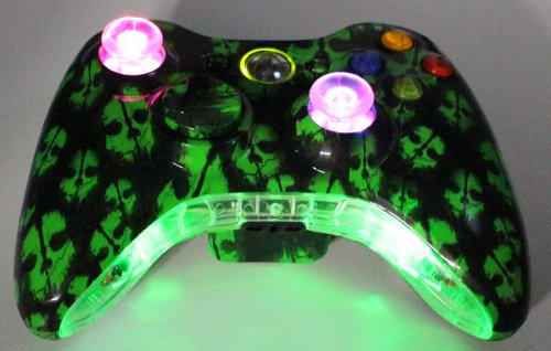 Xbox 360 Wireless Lighted Thumbstick and Botom Trim Call of Duty Ghost Green Controller + FREE Pouch (Lighted Trim)
