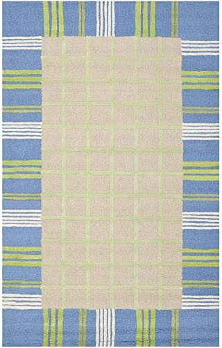 Safavieh Safavieh Kids Collection SFK320A Handmade Taupe and Blue Cotton Area Rug 8 x 10