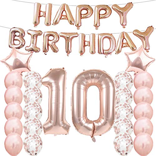 10th Birthday Decorations Party Supplies,10th Birthday Balloons Rose Gold,Number 10 Mylar Balloon,Latex Balloon Decoration,Great Sweet 10th Birthday Gifts for Girls,Photo Props