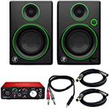 Mackie CR Series 3 Creative Reference Multimedia Monitors (Pair) (CR3) with Focusrite Scarlett Solo USB Audio Interface, TRS Male to Two TS Male Cable & 2x Premier Series XLR Male to Female Cable