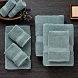 Luxus Premium 100% Cotton 8 Piece Towel Set (Mist) - Supersoft - Highly Absorbent - Quick Dry - Hotel Spa Bathroom Towel Collection - 2 Bath Towels - 2 Hand Towels - 4 Wash Towels