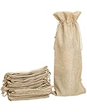 Shintop Pack of 10 Jute Wine Bags, 14 x 6.25 inches Hessian Wine Bottle Gift Bags with Drawstring (Brown)