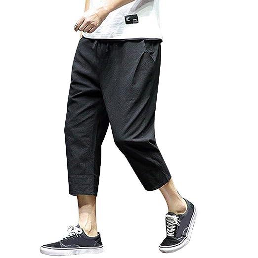 ead50874ab Allywit Men's Loose Fit Elastic Waist Patchwork Shorts Harem Capri Pants  Lounge Linen Harem Pants Big