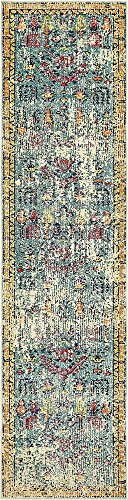 Unique Loom Monterey Collection Vintage Bohemian Tribal Distressed Blue Runner Rug (2' 7 x 10' 0) (Furniture Distressed Gold)
