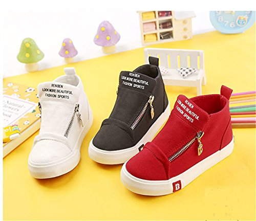 BENHERO Classic Kids Casual Comfort Zipper Lace Up High-Top Canvas Sneaker Shoes Trainers (Toddler/Little Kid/Big Kid) (4.5 M US Big Kid, 5129 Red) by BENHERO (Image #2)