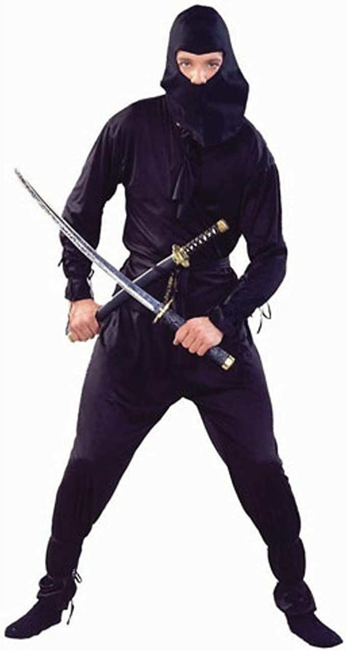 Adult Black Ninja Costume (Size: Standard 42-46)