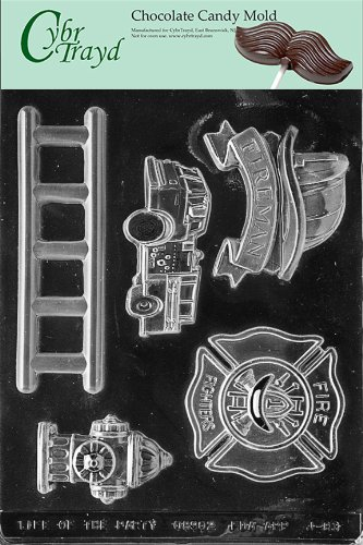 Cybrtrayd Life of the Party J083 Firefighter Kit Ladder, Fire Truck Engine Hydrant Badge Chocolate Candy Mold in Sealed Protective Poly Bag Imprinted with Copyrighted Cybrtrayd Molding -