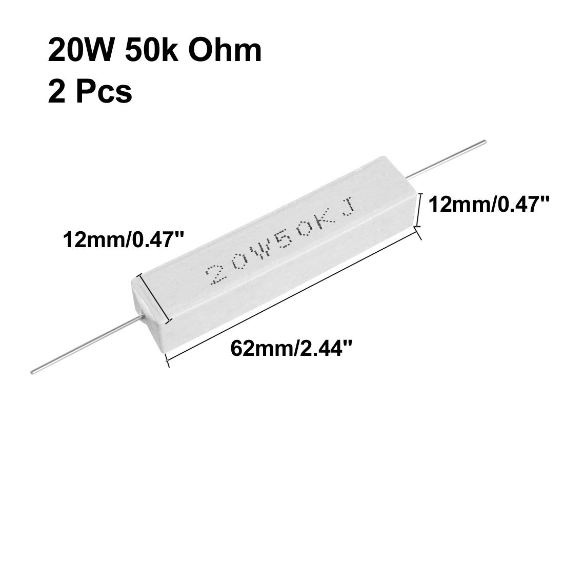 uxcell 20W 5 Ohm Power Resistor Ceramic Cement Resistor Axial Lead White 2pcs