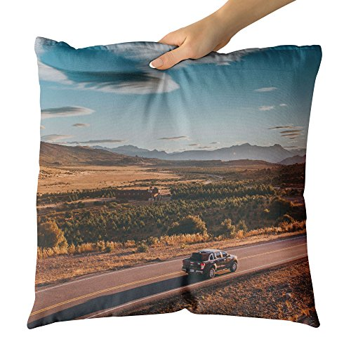 Westlake Art Road Street - Decorative Throw Pillow Cushion - Picture Photography Artwork Home Decor Living Room - 16x16 (Dune Corner Sofa)