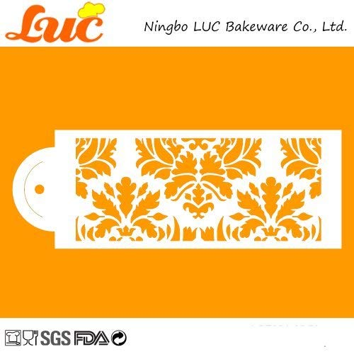 1 piece LUC 6 by 13 Large size 5 Tiers Decorative Damask Pattern Wedding Cake Stencil Set ()