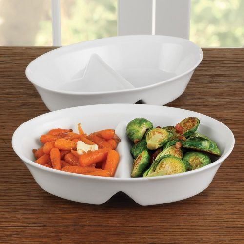 BIA White Porcelain 10.5 Inch Divided Serving Platter - Divided Porcelain