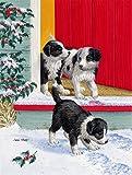 Cheap Caroline's Treasures ASA2078GF Christmas Border Collie Pups Garden Size Flag, Small, Multicolor