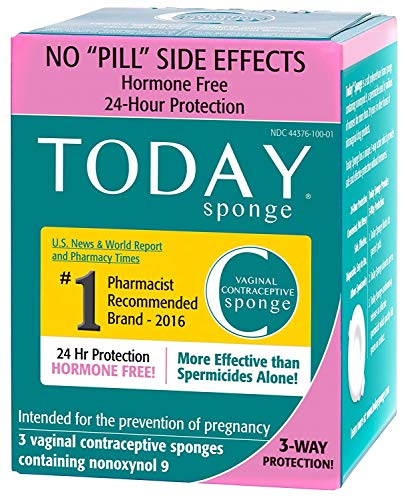 Today Sponge Vaginal Birth Control, Green, 3 Count (4 Pack - 3 Count/Box)