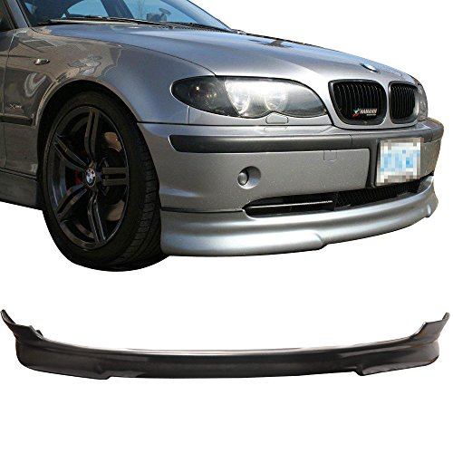 E46 Front Lip (Front Bumper Lip Fits 1999-2003 BMW E46 | H Style Black PU Front Lip Finisher Under Chin Spoiler Add On by IKON MOTORSPORTS | 2000 2001 2002)