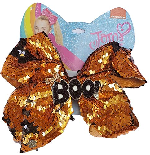 Jojo Siwa Orange and Black Flip Sequin Deluxe Halloween Bow