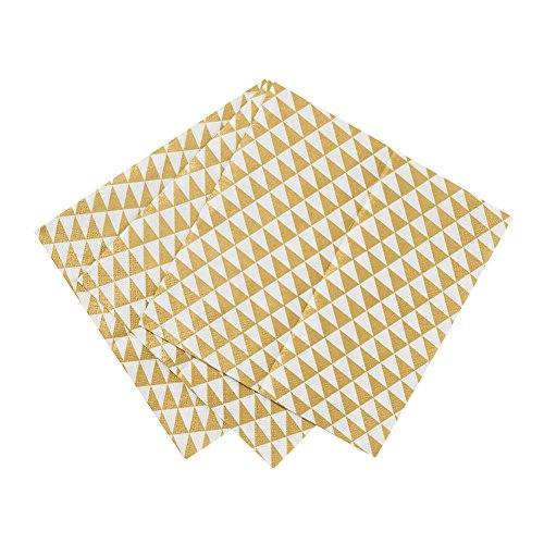 Talking Tables Party Time Napkins (20 Pack), Gold (Gold Napkin)