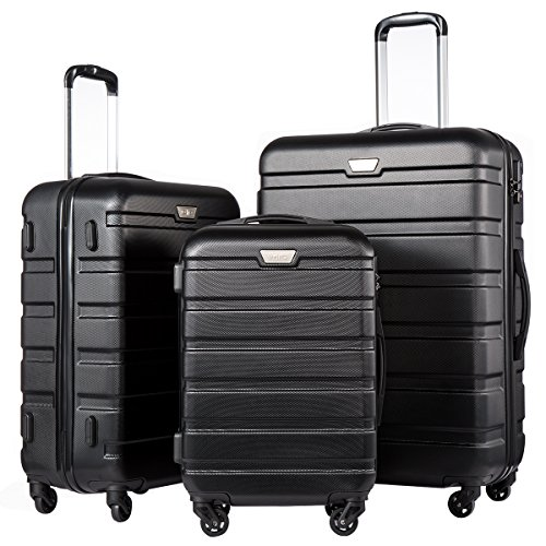 Coolife Luggage 3 Piece Set Spinner Trolley Suitcase Hard Shell Lightweight Carried On Trunk 20inch 24inch 28inch(black) by Coolife