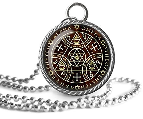 Alpha Omega Necklace, Enochian, Magic Sigil, Angelic Image Pendant Key  Chain Handmade