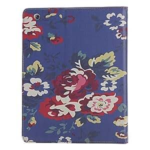 Blue Background Flower Pattern Full Body Case for iPad 2/3/4