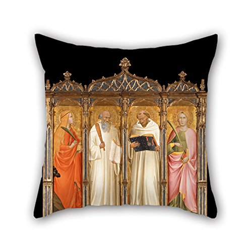 Cushion Cases Of Oil Painting Gaddi, Agnolo - St. Mary Magdalene, St. Benedict, St. Bernard Of Clairveaux And St. Catherine Of Alexandria 18 X 18 Inches / 45 By 45 Cm Best Fit For Kids Boys Shop G (Flower Shops La Alexandria)