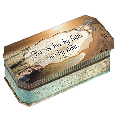 2 Corinthians 5:7 Footprints in The Sand Design Jewelry Music Box - Plays Song How Great Thou Art