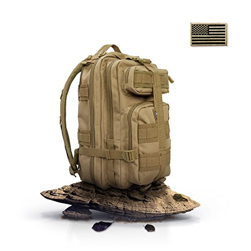 Brown Grad Lens - Bagrun Tactical Backpack Brown 40L- 900D Nylon, Military Grade MOLLE, IPX4 WaterProof, Breathable and Adjustable - for Outdoor Hiking Camping Trekking Hunting