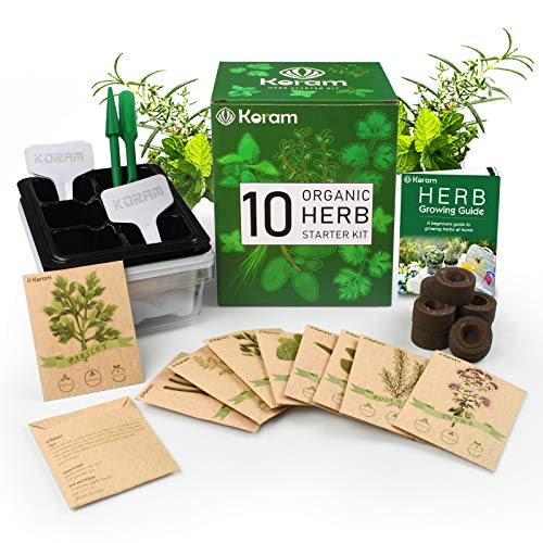 - KORAM Herb Garden Kit Growing Kit Gardening Starter Set- 10 Herbs Grow from Organic Seeds Indoor Herb Kit with Everything a Gardener Needs for Growing Herbs Indoors, Kitchen, Balcony, Window Sill