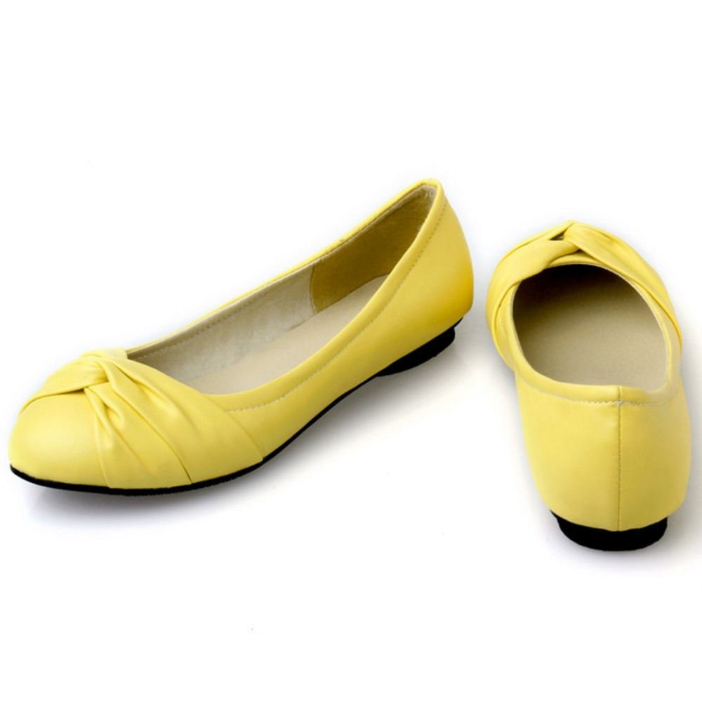 KemeKiss Women Simply Comfortable Slip On Ballet Shoes Casual Knotted Cute Flats B01MY6V26J 4 B(M)US = 22.5 CM|Yellow