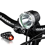 Night Eyes-Brightest 1200 Lumens Rechargeable Bike Light, Mountain Bike headlamp -8.4V 6400mA Waterproof