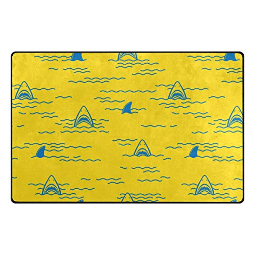 MIGAGA Non Slip Area Rugs didian Shark Fin Dolphin Ocean Sea Seamless Floor Mat Living Room Bedroom Dinning Kitchen Carpets Doormats (Difference Between Shark Fin And Dolphin Fin)