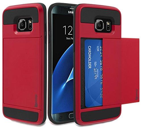 - Samsung Galaxy S7 Edge Case, Bastex Hybrid Black Rubber Silicone Cover Red Hard Plastic Hidden Credit Card Cash Id Holder Slot Case for Samsung Galaxy S7 Edge G935