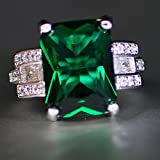 Heart 925 Silver Filled Green Sapphire Birthstone Engagement Wedding Ring 6-10 (6)