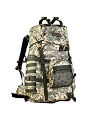 Protector Plus Military Tactical Backpack Gear 600D Nylon Sport Outdoor Rucksack Waterproof Molle Assault Pack 75L (ACU Camouflage)